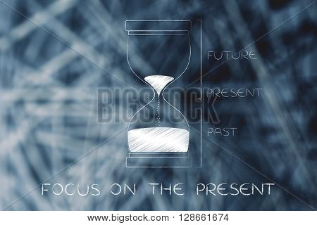 Hourglass With Past, Present And Future, Focus On The Present
