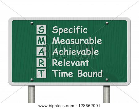 Writing your SMART Goals A green Road Sign with the SMART Goals listed isolated on a white background, 3D Illustration