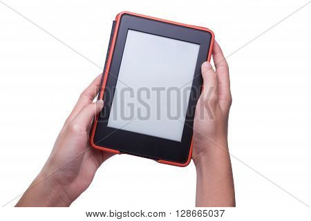 Two hands holding ebook reader in red case isolated white background