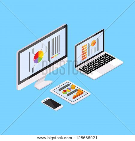 Laptop Tablet Computer Cell Smart Phone With Finance Pie Diagram Infographic Financial Business Graph 3d Isometric Vector Illustration