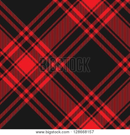 Menzies tartan black red kilt diagonal fabric texture seamless pattern.Vector illustration. EPS 10. No transparency. No gradients.