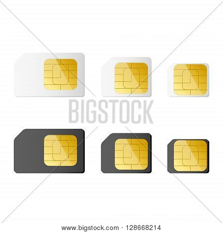 Mini micro nano sim cards in black and white color. Vector illustration. EPS 10.