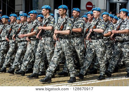 SOFIA, BULGARIA - 6 MAY 2016 Military parade in SOFIA, Bulgaria celebrating May 6, the Day of Saint George the Victorious, and the Day of the Bulgarian Army. May 6, 2016 in Sofia, Bulgaria