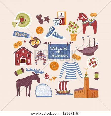 Vector set with hand drawn art design elements of symbols of Sweden. Traditional Swedish food clothes landmarks. Clipart for greeting cards and fabric about Sweden.