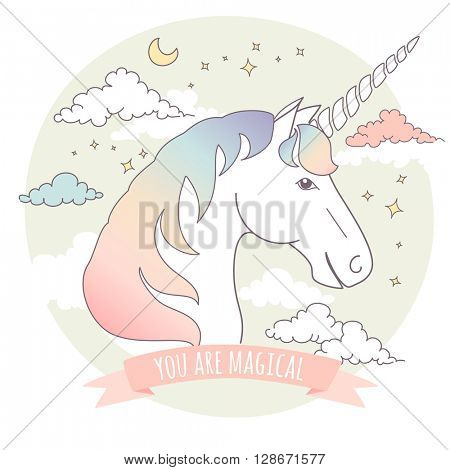 Greeting card with a unicorn, stars and clouds. You are magical!