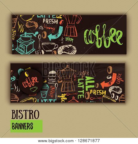 Cafe banner template design with lettering for coffee shop. Hand drawn cafe menu design. Modern hipster colorful cafe menu. Vector illustration of cafe banners