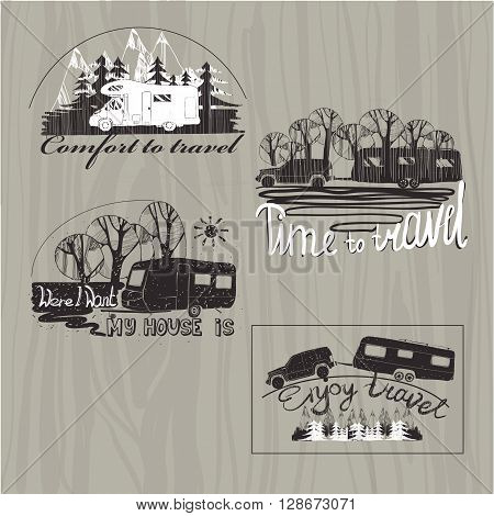 Vector illustration of set lettering  emblem for travel, typographic, camp calligraphy, silhouette trailer, caravan on wood background. Logos for clothes