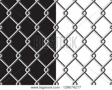 Steel mesh metalic fance black and white background seamless texture. Vector illustration. EPS 10.
