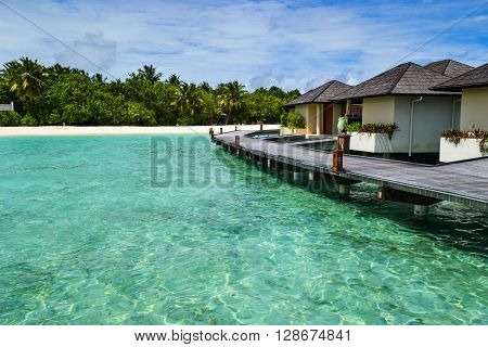 Maldives Islands - November 18, 2014: Beauty and exotic villas of Maldives islands. Water villas