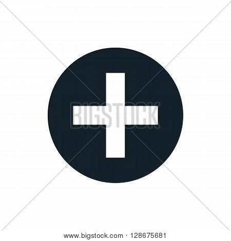 Black and white vector plus sign plus size icon plus logo plus symbol design element. Addition button simple vector for web app website design logo medical business brand identity. Simple icon.