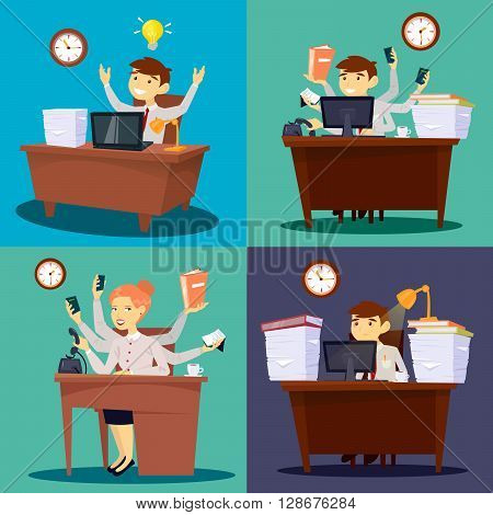 Businessman at Work and Businesswoman in Office. Multitasking Worker Vector illustration