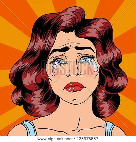 Woman Crying. Exhausted Woman in depression. Pop Art Vector illustration