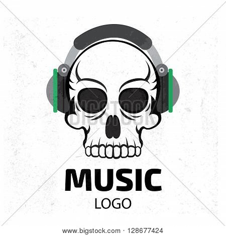Music skull logo. Stock vector. Vector illustration.