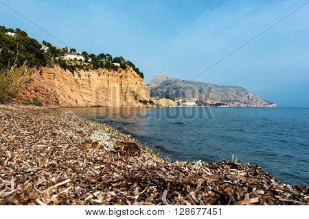 Solsida nudist beach near town of Altea. Costa Blanca. Spain