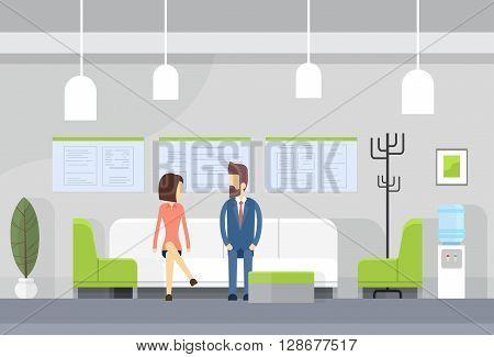 Business People On Sofa, Modern Office Waiting Room Interior Flat Design Vector Illustration