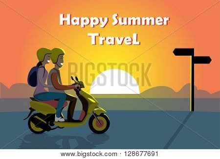 Couple Ride Electric Scooter Motorcycle, Man Woman Over Sunset Ocean Beach Happy Summer Travel Banner Flat Vector Illustration