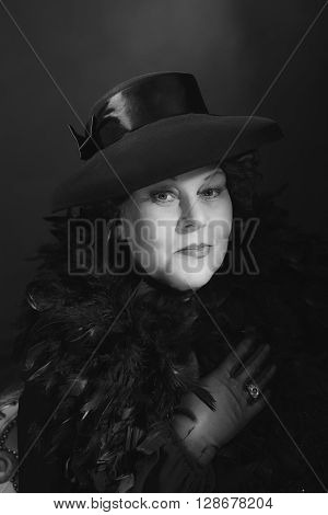 Vintage Woman With Hat. 1930S Classic Black And White Portrait.