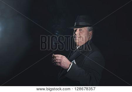 Vintage 1930S Gangster Holding Cigar. Classic Studio Portrait.