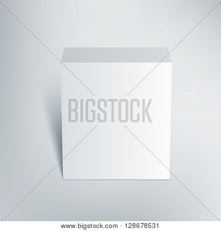 Blank isolated box mockup with shadow. Packaging 3d design template. Vector illustration scene 2.