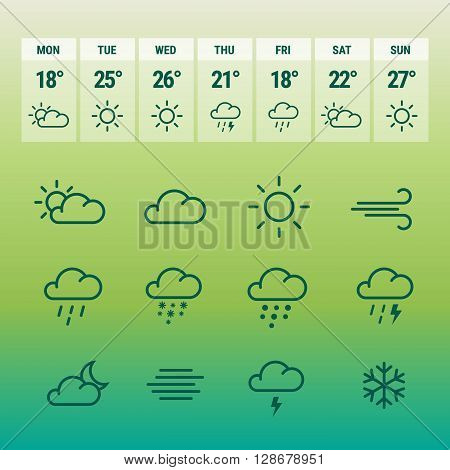 Weather forcast line icons on gradient green natural background. Collection of symbols with aplication.