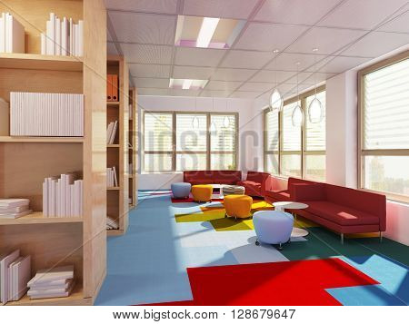 Empry library in modern school. 3D render