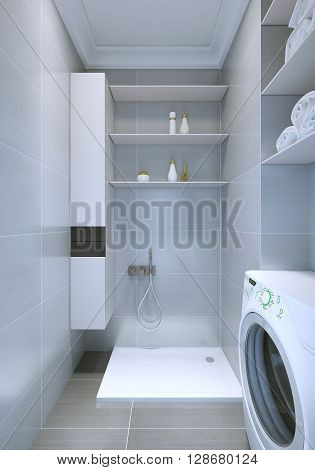 Bathroom with shower for pets. Elegant white and grey interior. 3D render