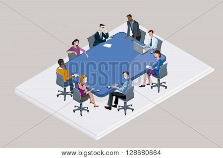 Colleagues at an office meeting arround a big blue conference table.