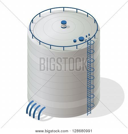 Water reservoir isometric building info graphic. Big water reservoir. White water supply resource. Pictogram industrial chemistry cleaner set with blue details. Flatten isolated master vector icon.