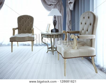 Negotiation place. Classic armchaira and coffe table. 3D render