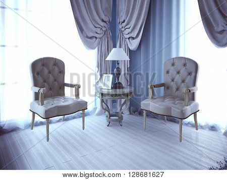 Two lether unpolstery armchair near window. 3D render
