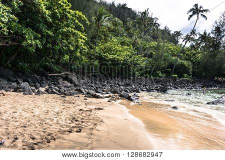View of Kee Beach in North Kauai, Hawaii