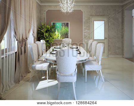 Expensive apartments in avantgarde style. Dining with white furniture. 3D render