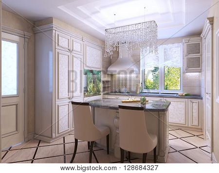 Beautiful kitchen art deco style. Frontal patterned cabinets dark stone countertops. 3D render