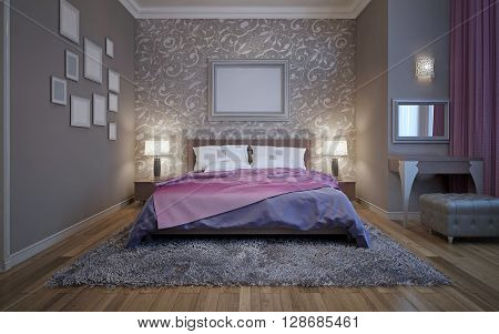 Steel grey in modern design of bedroom. 3D render