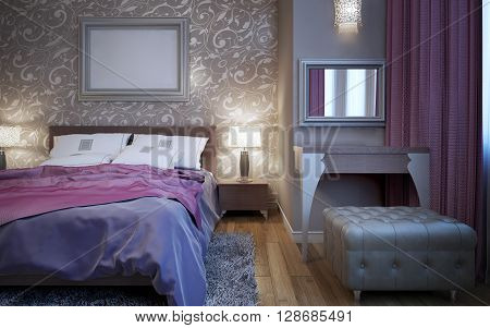 Exclusive set of bedroom furniture. 3D render