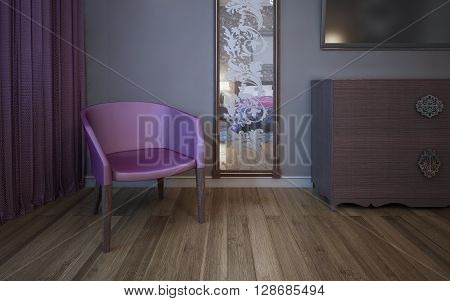 Single dark pink armchair near wall with patterned mirror. 3D render