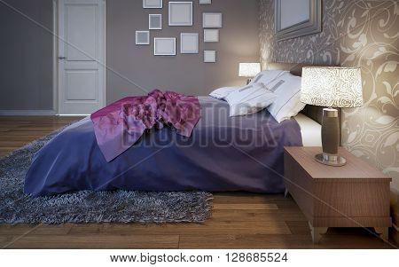 Dressed bed in pretty good bedroom. 3D render
