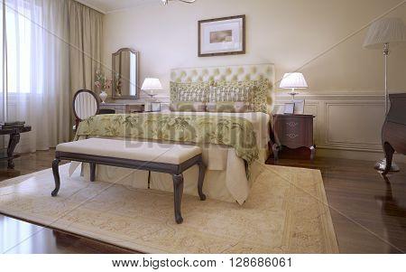 Idea of master english bedroom. 3D render