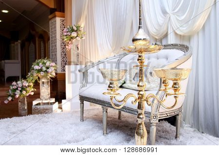 Nicely decoration on a hall with umbrella
