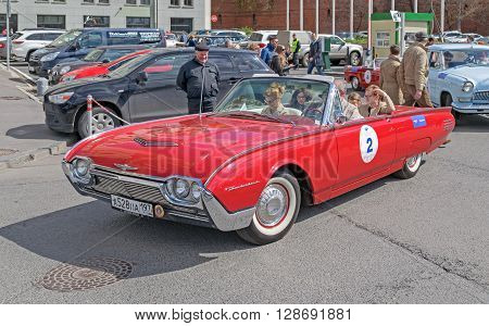 Moscow Russia - April 24 2016: Retro cars rally named after «Ingosstrakh Exclusive Classic Day». Ford Thunderbird.