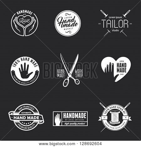 Hand made labels, badges and design elements. Vector vintage illustration. Workshop emblem. Taylor studio sign. Hand made shop advertising.