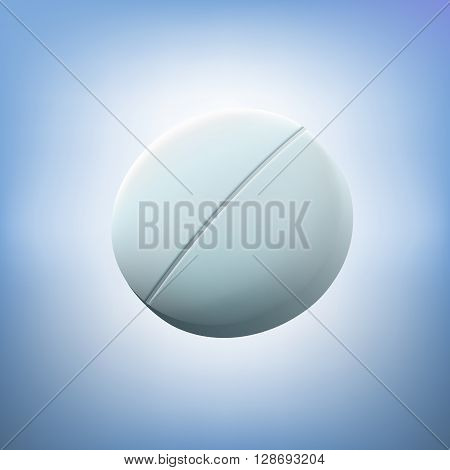 Round white tablet. Realistic vector illustration.Macro medical pill or pastille. Medical concept. Panacea and the preparation of future.The development of new medical