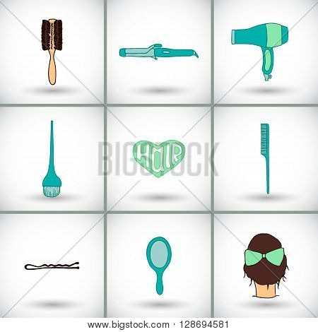 Hairdressing tools icon set with pattern swatch. Hand-drawn cartoon collection of hair styling stuff -  comb, hairbrush, hairpin, mirror, dryer, mirror, head. Doodle drawing. Vector illustration