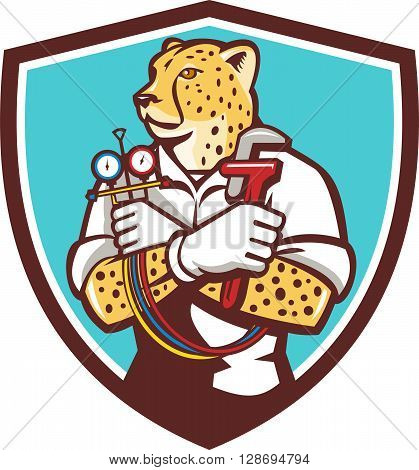 Illustration of a cheetah heating specialist refrigeration and air conditioning mechanic holding a pressure temperature gauge looking to the side viewed from front set inside shield crest on isolated background done in cartoon style.