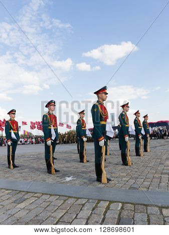 Moscow - May 6 2016: Victory Park on Poklonnaya Hill and perform 154 separate military commandant of the Preobrazhensky Regiment May 6 2016 Moscow Russia