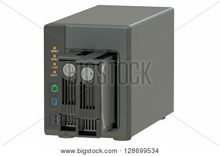 NAS with two disks 3D rendering isolated on white background