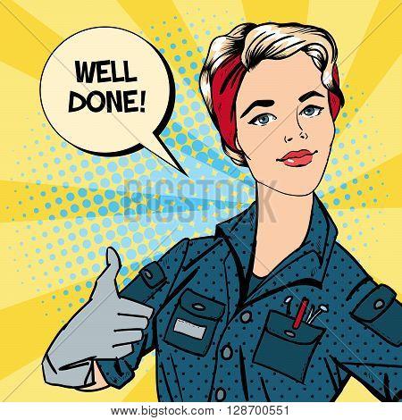 Working Woman Gesturing Great. Woman Repairer Pop Art Vector illustration