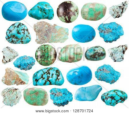 set of various turquoise and imitation natural mineral stones (howlite turquenite variscite) gemstones isolated on white background poster