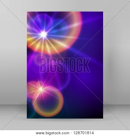 Cover Page A4 Brochure  Blue Background Blur Circle Stars