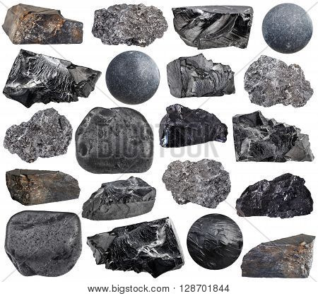 Set Of Various Carbon Natural Mineral Stones